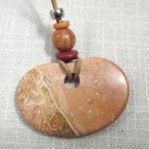 Polished Stone Necklace on a Leather Rope